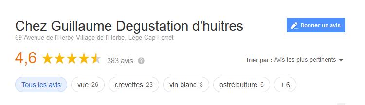 Avis client Google Chez Guillaume
